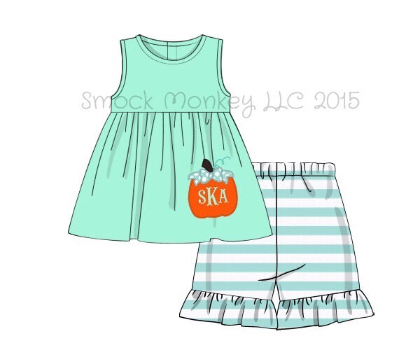 "Girl's applique ""PUMPKIN"" mint striped knit sleeveless swing top and mint striped short set (NO MONOGRAM) (9m,18m,24m,3t,7t,8t,10t)"