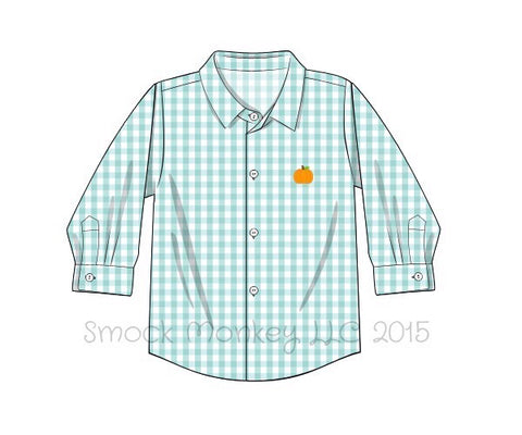 "Boy's embroidered ""PUMPKIN"" mint gingham long sleeve button down shirt (12m,18m,24m,2t,3t,4t,5t,6t,7t,8t)"