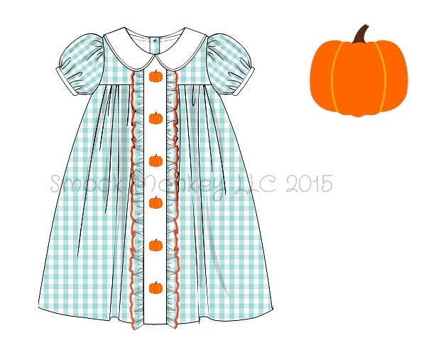 "Girl's embroidered ""PUMPKINS"" mint gingham apron dress (12m,24m,2t,3t,4t,7t,10t)"