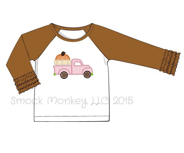 "Girl's applique """"OLD TIME TRUCK WITH PUMPKIN"" white baseball shirt with brown 3/4 ruffle fringe sleeves (18m,24m,2t,4t,6t,7t)"