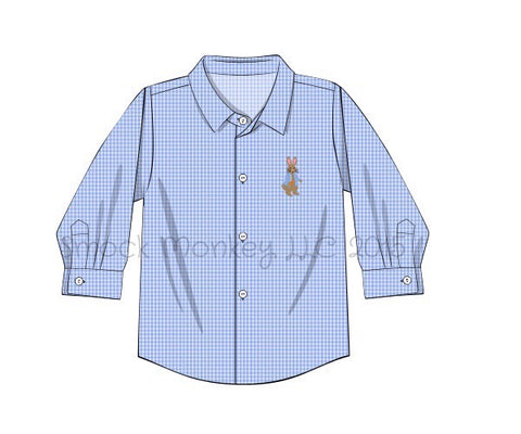 "Boy's embroidered ""PETER RABBIT"" blue microgingham long sleeve button down shirt (3m,6m,12t)"