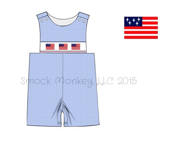 "Boy's smocked ""FLAG"" blue microgingham shortall (6m,9m,12m,2t,4t)"
