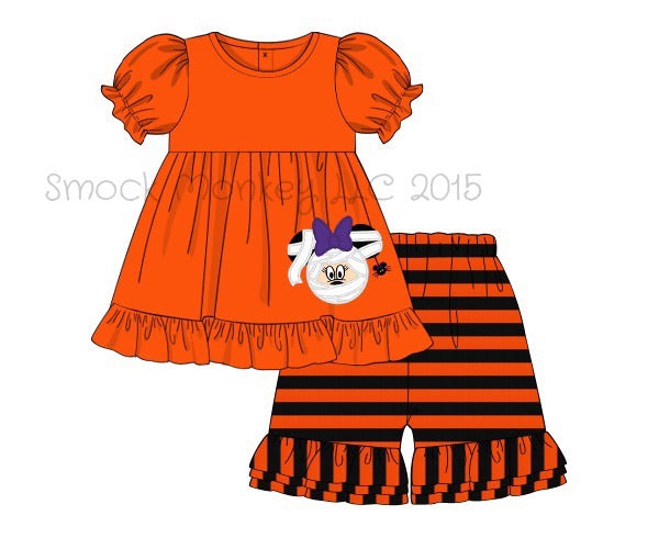 "Girl's applique ""SCARY MOUSE"" orange short sleeve ruffle shirt and orange and black striped knit ruffle shorts (6m,12m,2t,8t)"