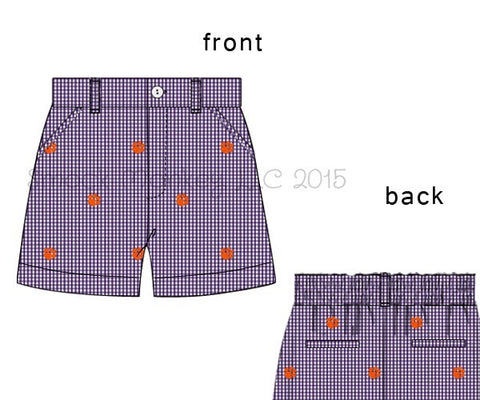 "Boy's embroidered ""PAWS"" purple microgingham pocket shorts (3m,6m,8t)"