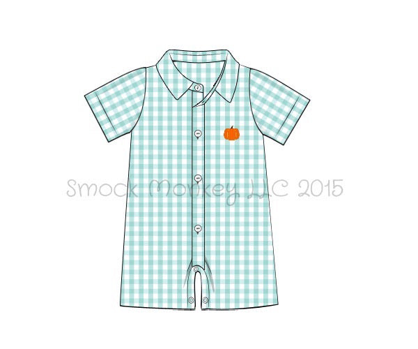 "Boy's embroidered ""PUMPKIN"" mint gingham shortall (3m,6m,9m,12m,18m,24m)"