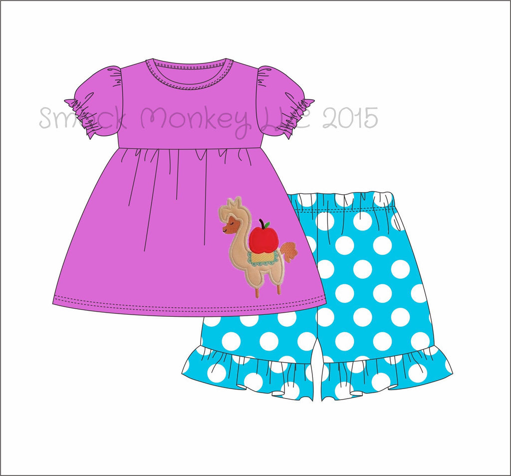 "Girl's applique ""LLAMA MAMA"" light purple short sleeve swing top and aqua polka dot short set (3t,4t,5t,6t,7t,8t)"