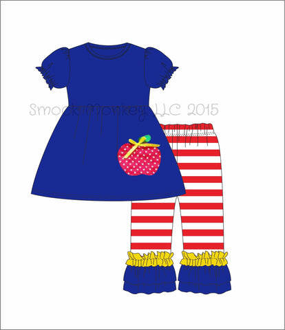"Girl's applique ""POLKA DOT APPLE"" royal blue short sleeve swing top and red striped pant set (24m,8t,10t,12t)"