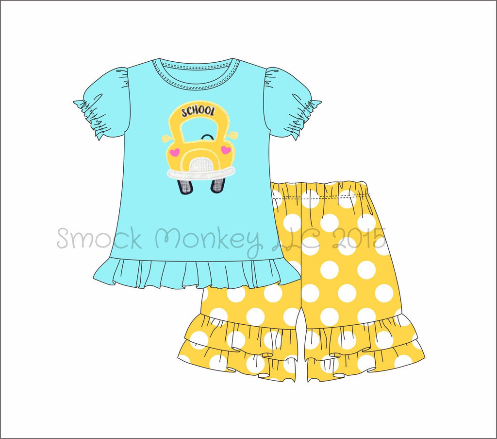 "Girl's appliqué ""SCHOOL BUS"" light aqua short sleeve ruffle top and yellow polka shorts (24m,2t,3t,4t,6t,8t)"