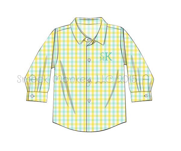 Boy's yellow and mint long sleeve button down shirt (NO MONOGRAM) (6m)
