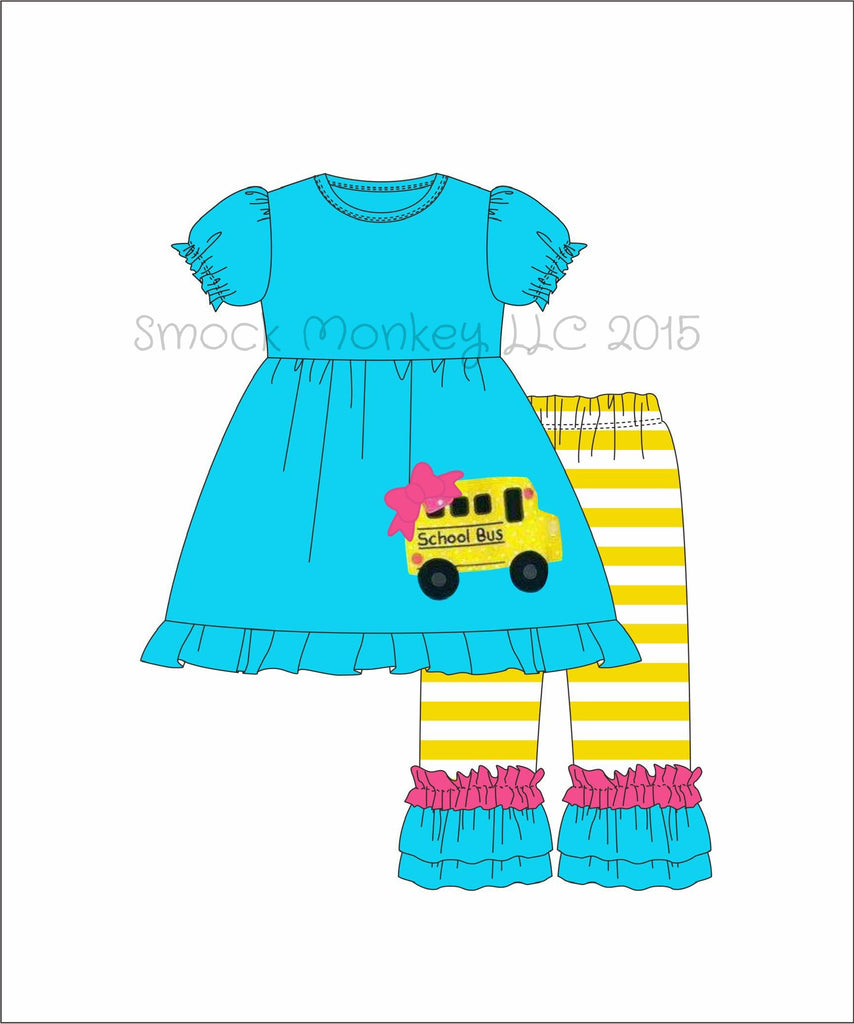 "Girl's applique ""SCHOOL BUS"" aqua short sleeve swing top and yellow striped knit pants (24m,2t,6t,7t,8t)"