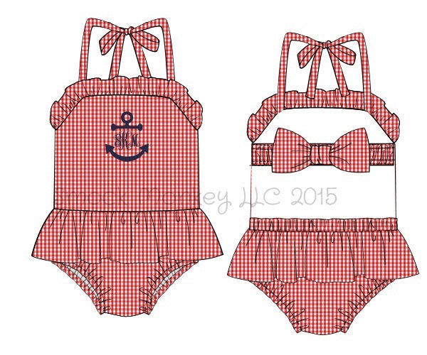 "Girl's applique ""FULL ANCHOR or BLANK"" red gingham one piece ruffle swim suit (NO MONOGRAM) (3m,2t,4t,5t,6t,8t)"