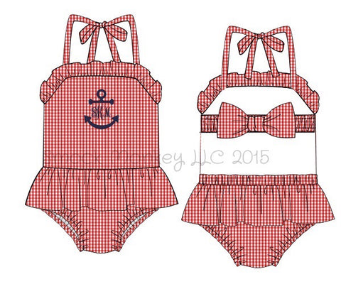"Girl's applique ""FULL ANCHOR or BLANK"" red gingham one piece ruffle swim suit (NO MONOGRAM) (3m,5t,6t,8t)"
