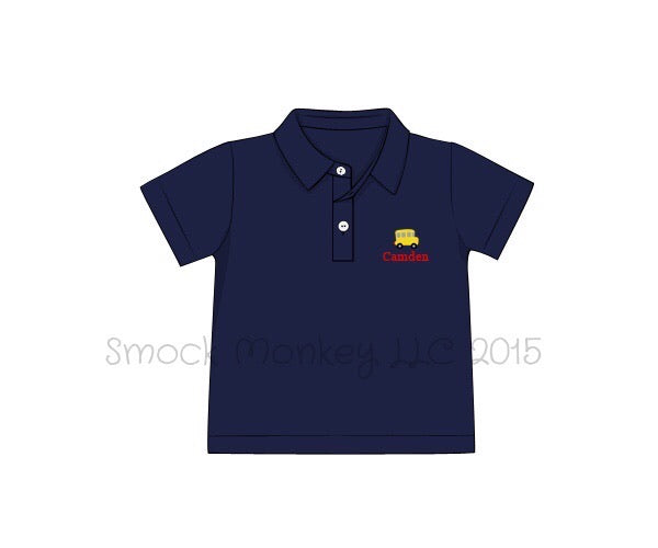 "Boy's embroidered ""WHEELS ON THE BUS"" navy short sleeve polo style shirt (NO MONOGRAM) (24m,2t,4t,6t)"