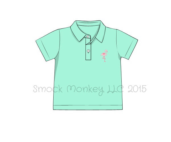 "Boy's embroidered ""FLAMINGOS"" mint short sleeve polo shirt (12m,24m,10t)"