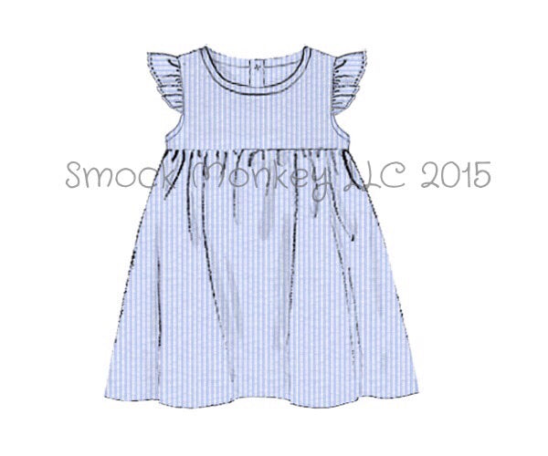 Girl's angel wing blue seersucker dress (6m,12m,18m,24m,10t)*size up