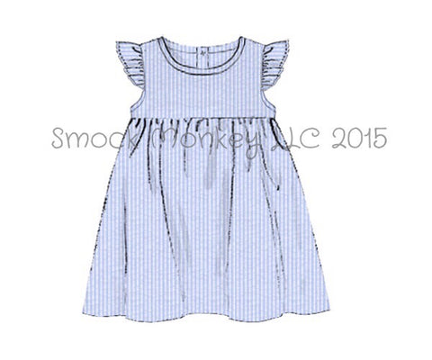 Girl's angel wing blue seersucker dress (6m,12m,18m,24m,2t,3t,10t)*size up