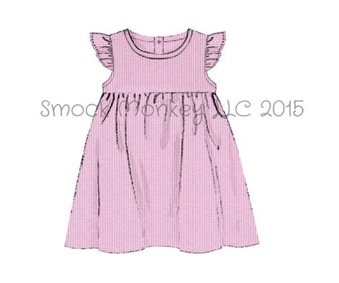 Girl's angel wing pink seersucker dress (18m,24m,2t,3t,4t,6t,7t)*size up