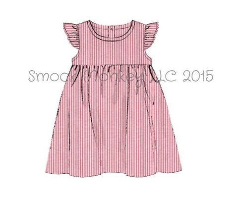 Girl's angel wing red seersucker dress (24m,2t,3t,4t,6t,7t)*size up