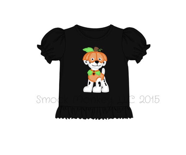 "Girl's applique ""PUMPKIN PATROL"" black ruffle knit shirt (12m,18m,24m,2t)"