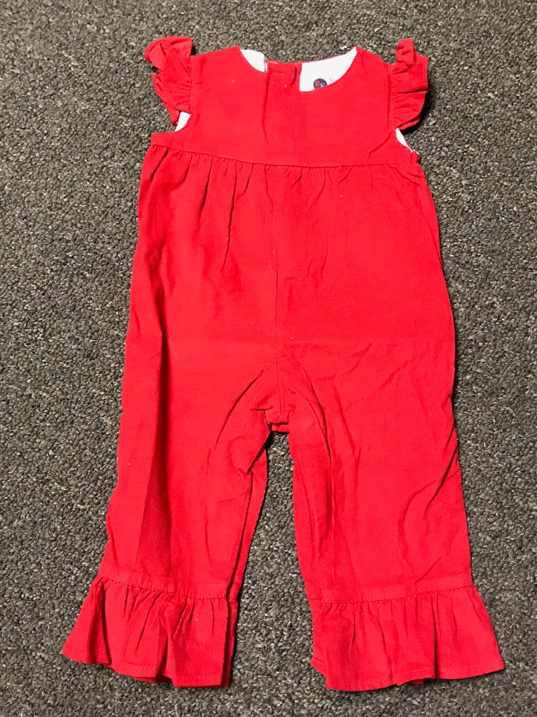 Girl's corduroy red angel sleeve pant romper (6m)