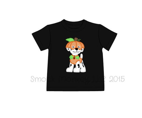 "Boy's applique ""PUMPKIN PATROL"" black short sleeve knit shirt (6m,9m,18m,3t,5t,7t)"