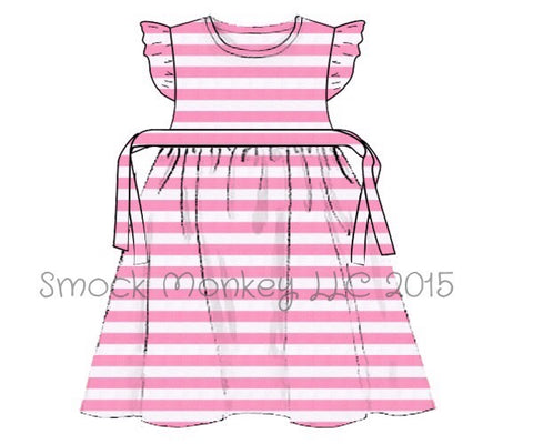 Girl's pink and white striped knit swing dress (12m,8t)