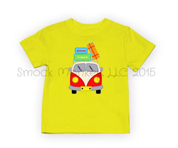 "Boy's applique ""VW CAMPING TRIP"" yellow short sleeve shirt (18m,24m,2t,8t)"