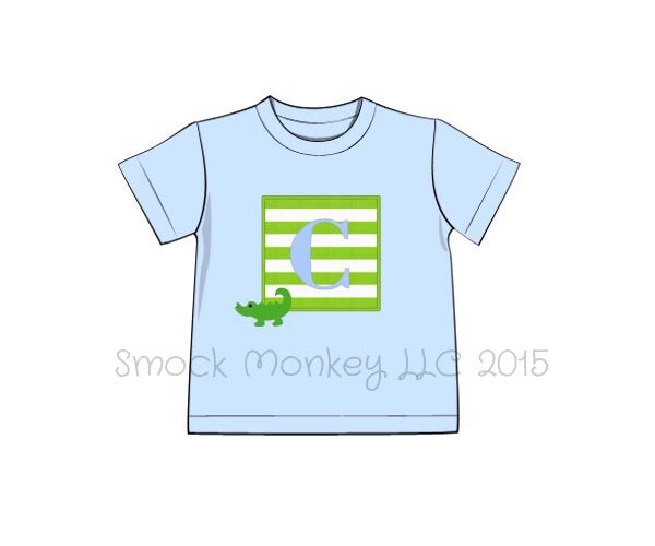 "Boy's applique ""ALLIGATOR"" blue short sleeve knit shirt (NO MONOGRAM) (18m,24m,2t,7t)"