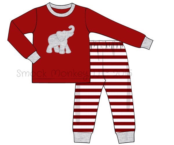 "Unisex applique ""ELEPHANT"" garnet knit long sleeve top and striped pajama set (NB,3m)"