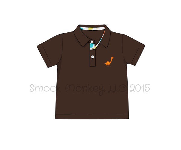 "Boy's embroidered ""DINOSAUR"" brown knit short sleeve polo shirt with dinosaur print button hole (2t,3t,4t,5t,6t,7t)"