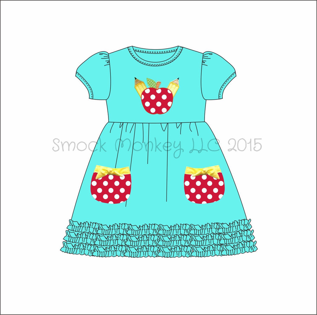 "Girl's applique ""SHARP AS AN APPLE"" aqua short sleeve knit swing dress with fringe trim and pockets (2t,8t)"