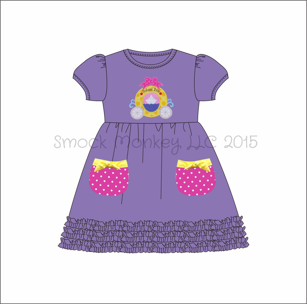 "Girl's applique ""PRINCESS BUS"" lavender short sleeve knit swing dress with fringe trim and pockets (24m,2t,4t,5t,6t,8t)"
