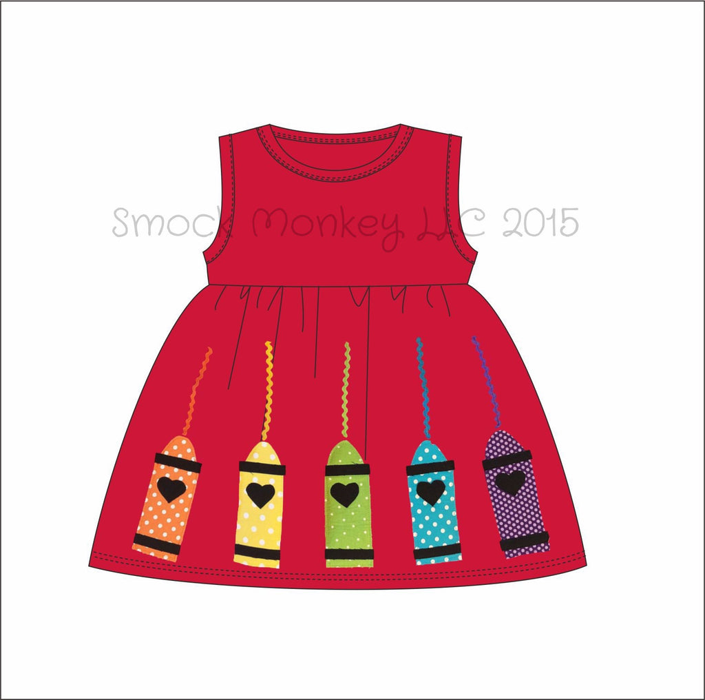 "Girl's applique ""CRAYON SCRIBBLE"" red sleeveless knit swing dress (24m)"