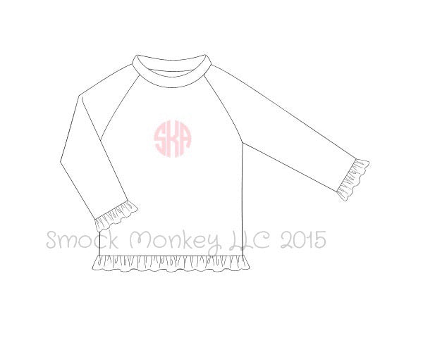 Girl's white long sleeve ruffle rash guard (NO MONOGRAM) (9m,3t,10t)