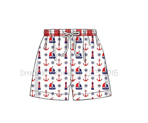 "Boy's ""ANCHORS AND LIGHTHOUSES"" print swim trunks with red gingham waistband (NO MONOGRAM) (3m)"