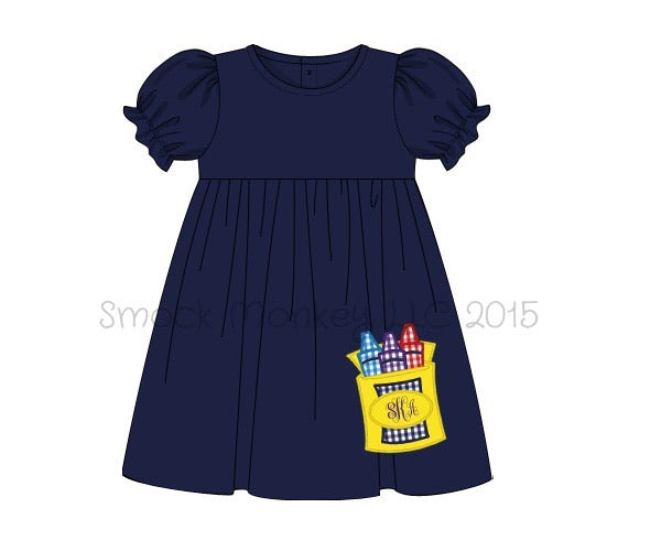 "Girl's applique ""CRAYONS"" navy short sleeve knit swing dress (NO MONOGRAM) (18m)"