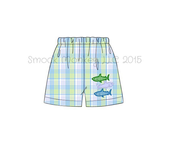 "Boy's applique ""SHARKS"" blue / lime green shorts (9m,12m,24m)"