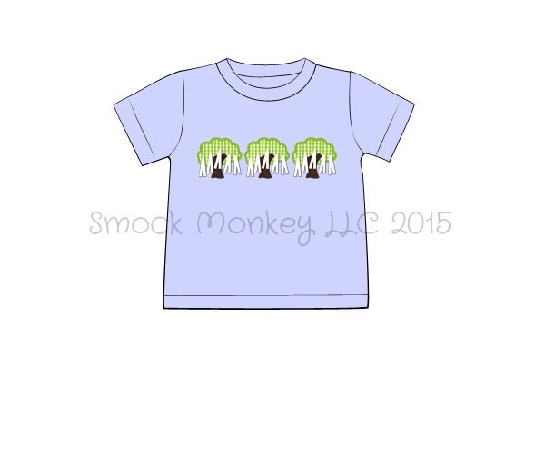 "Boy's applique ""LINE OF TREES"" light blue short sleeve shirt (3m,5t,6t)"