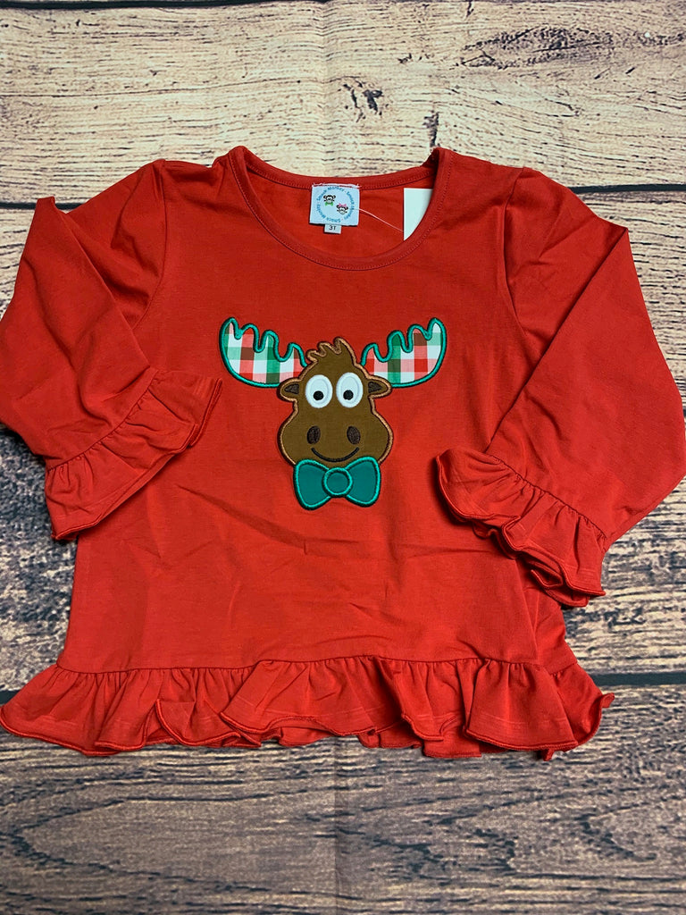 "Girl's applique ""CHRISTMAS MOOSE"" red long sleeve ruffle shirt (24m,2t,3t,4t,7t,8t)"