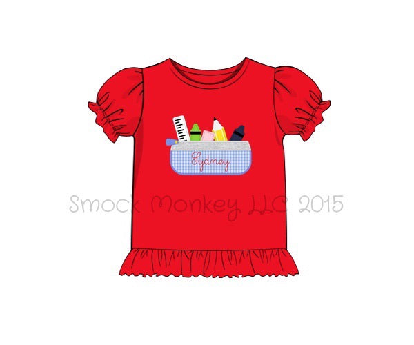 "Girl's applique ""PENCIL POUCH"" red puff short sleeve ruffle shirt (NO MONOGRAM) (18m,24m,7t,8t)"