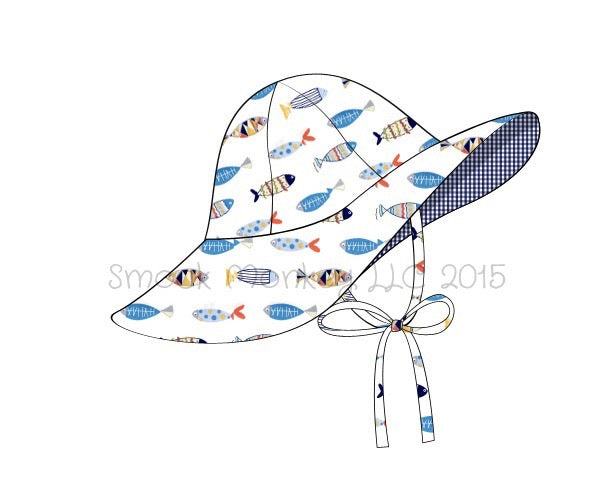 "Girl's ""FISH"" print flappy hat with strap (XS,S,M,L,XL)"