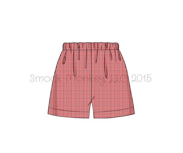 Boy's red microgingham shorts (SHORT LENGTH) (7t,8t,10t)