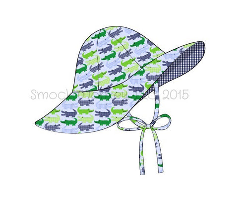 "Girl's ""ALLIGATOR"" print flappy hat with strap (XS,S,M,L)"