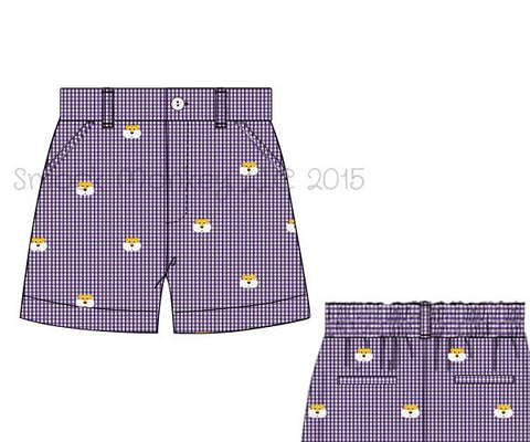 "Boy's embroidered ""GOLD TIGERS"" purple microgingham pocket shorts (12m,18m,6t,8t,10t)"