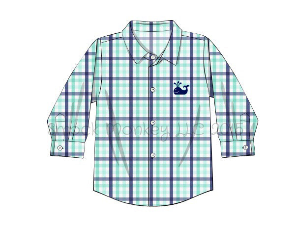 "Boy's embroidered ""WHALE"" mint/navy plaid button down shirt (3m,9m,18m)"