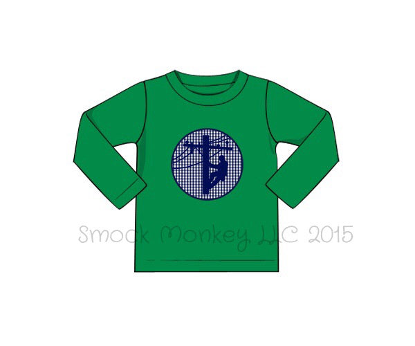 "Boy's applique ""LINEMAN"" green knit long sleeve shirt (3m,6m,9m,12m,18m,24m,3t,4t,5t,6t)"