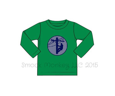 "Boy's applique ""LINEMAN"" green knit long sleeve shirt (3m,6m,12m,5t,6t)"