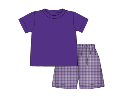 Boy's purple knit short sleeve shirt and purple microgingham short set (18m,5t)