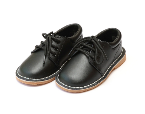 L'amour Tyler Stitch Down Leather Lace Up Shoe (Style 5012) (Black) (TODDLER 9)