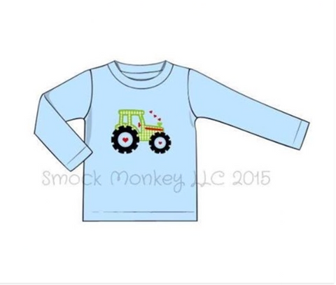 "Boy's applique ""GREEN TRACTOR LOVE"" light blue long sleeve shirt (18m,24m,2t,3t,4t,5t)"
